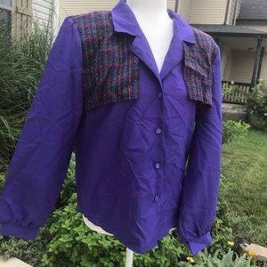 Rad vintage 80's plaid purple top shirt